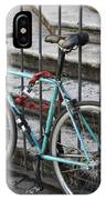 Bicycle Is Chained To A Fence IPhone Case
