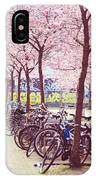 Bicycles Under The Blooming Trees. Pink Spring In Amsterdam  IPhone Case