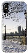 Big Ben Westminster Abbey And Houses Of Parliament In The Snow IPhone Case