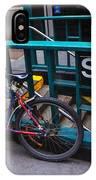 Bike At Subway Entrance IPhone Case