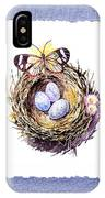 Bird Nest With Daisies Eggs And Butterfly IPhone Case