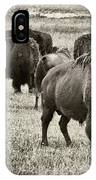 Bison Herd Bw IPhone Case