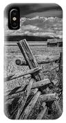 Black And White Photo Of A Wood Fence At The John Moulton Farm IPhone Case