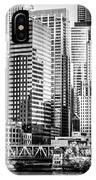 Black And White Picture Of Chicago At Lake Street Bridge IPhone Case