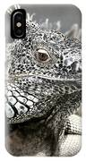 Black And White Saurian Animal Nature Iguana IPhone Case