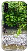 Black Bear Eating A Salmon In Fish Creek In Tongass National Forest-ak IPhone Case