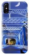 Black Cat Blue Bridge IPhone Case