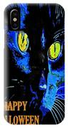 Black Cat Portrait With Happy Halloween Greeting  IPhone Case