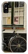 Black Cycle Rests On Window Sill Bruges Belgium IPhone Case
