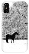 Black Horse In The Snow IPhone Case