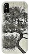 Black Pine Bonsai In Monochrome IPhone Case
