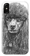 Black Standard Poodle Sketched In Charcoal IPhone Case