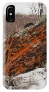 Bleak Winter Arctic Steppe Orange Lichens Rock IPhone Case