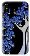 Blue And Silver Fractal Tree Abstract Artwork IPhone Case