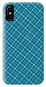 Blue And Teal Diagonal Plaid Pattern Textile Background IPhone Case