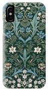 Blue And White Flowers On Green IPhone Case