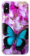 Blue Butterfly On Pink Hydrangea IPhone Case