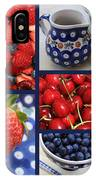 Blue Dishes And Fruit Collage IPhone Case