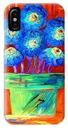 Blue Flowers On Orange IPhone Case