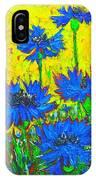 Blue Flowers - Wild Cornflowers In Sunlight  IPhone Case