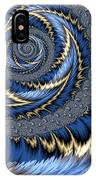 Blue Gold Spiral Abstract IPhone Case