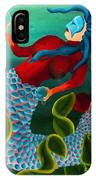 Blue Haired Mermaid IPhone Case