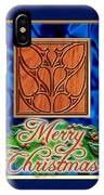 Blue Satin Merry Christmas IPhone Case