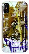 Blue Snowy Staircase And Birch Tree Montreal Winter City Scene Quebec Artist Carole Spandau IPhone Case