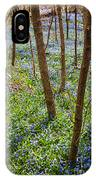 Blue Spring Flowers In Forest IPhone Case