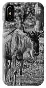 Blue Wildebeest-black And White IPhone Case
