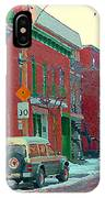 Blues And Brick Houses Winter Street Suburban Scenes The Point Sud Ouest Montreal Art Carole Spandau IPhone Case