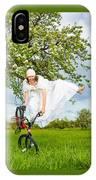Bmx Flatland Bride Jumps In Spring Meadow IPhone Case