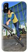 Bmx Flatland - Monika Hinz Riding On Rear Wheel IPhone Case