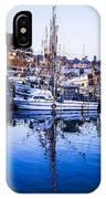 Boat Mast Reflection In Blue Ocean At Dock Morro Bay Marina Fine Art Photography Print IPhone Case