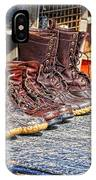 Boots Lined Up After The Hunt IPhone Case