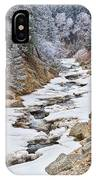 Boulder Creek Frosted Snowy Portrait View IPhone Case