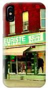 Boutique Fleuriste Coin Vert St Henri Flower Shop Notre Dame Montreal Urban Scenes Carole Spandau  IPhone Case