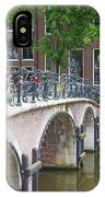 Bridge Over Canal With Bicycles  In Amsterdam IPhone Case