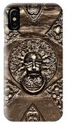 Bronze Lion Head And Ring On The Main Door Of The Town Hall In Dubrovnik Sepia IPhone Case