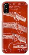 Browning Rifle Patent Drawing From 1921 - Red IPhone Case