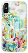 Bruce Springsteen Playing The Guitar Watercolor Portrait.1 IPhone Case