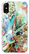 Bruce Springsteen Playing The Guitar Watercolor Portrait.3 IPhone Case