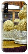 Buddha Figures With Thick Layer Of Gold Leaf In Phaung Daw U Pagoda Myanmar IPhone Case