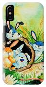 Bunnies Log And Frog IPhone Case