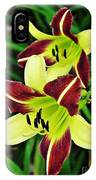 Burgundy And Yellow Lilies 2 IPhone Case