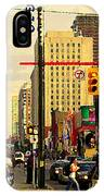 Busy Downtown Toronto Morning Cross Walk Traffic City Scape Paintings Canadian Art Carole Spandau IPhone Case