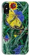 Butterfly And Wildflowers Spring Floral Garden Floral In Green And Yellow - Square Format Image IPhone Case