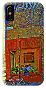 Cafe Window Corner Rue Fabre Near The Bicycle Stand Art Of Montreal Summer Street Scene  IPhone Case