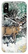 Camouflaged Mule Deer Buck In Winter IPhone Case