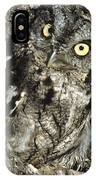Camouflaged Screech Owl IPhone Case